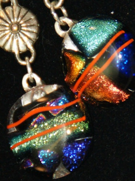 Fused Glass Earrings - Dichroic with Orange Stripes under clear
