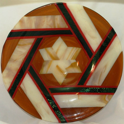 Fused Glass Bowl - 14-inch Geometric Star with Iridized Accents