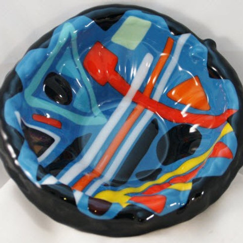 Fused Glass Bowl with Geometric Abstract pattern
