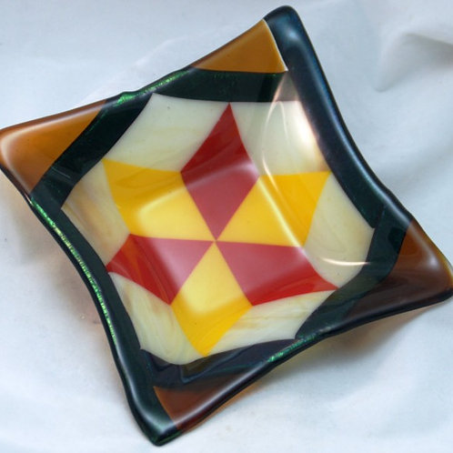 Fused Glass Dish - Geometric Star in Amber