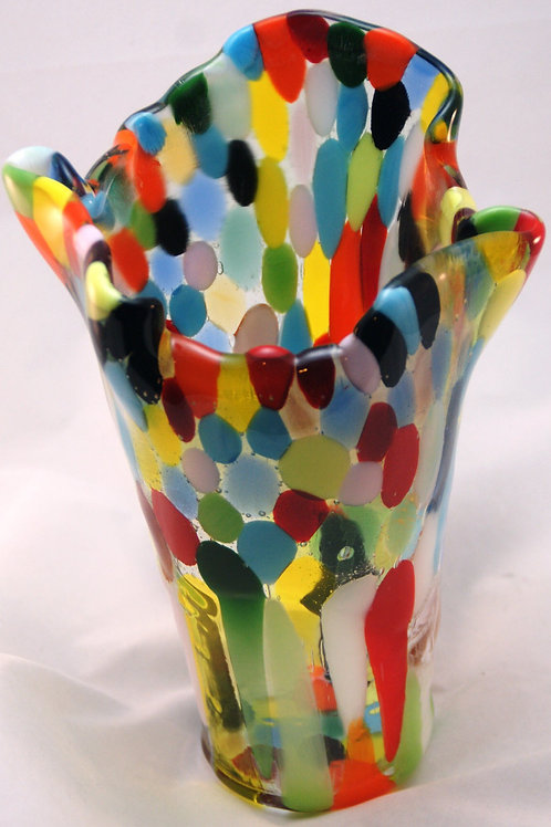 Fused Glass Vase - Colored Pebbles Fused in Clear