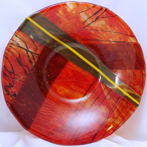 14-inch Fused Glass Bowl - Streaky Red and Black Abstract