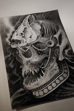 Original calavera grafito 50x35cm