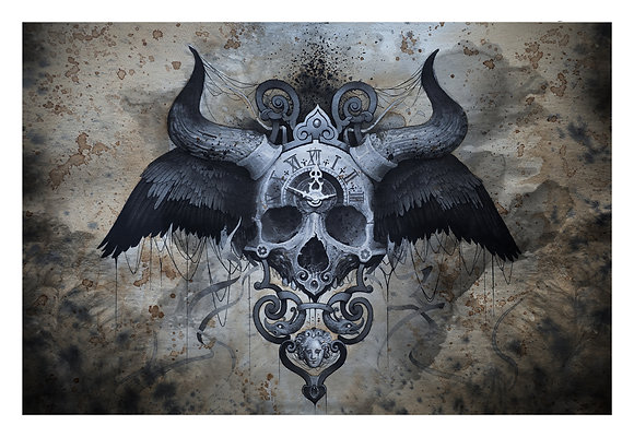 Horned Skull Printed on Canvas (42x59cm)