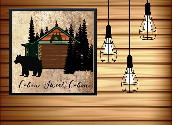 CABIN SWEET CABIN | Digital Download | Printable | Cabin Wall Art | 16x16