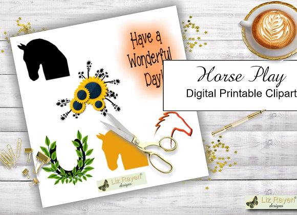 Digital Printable Clip Art - Horse Play - Instant Download