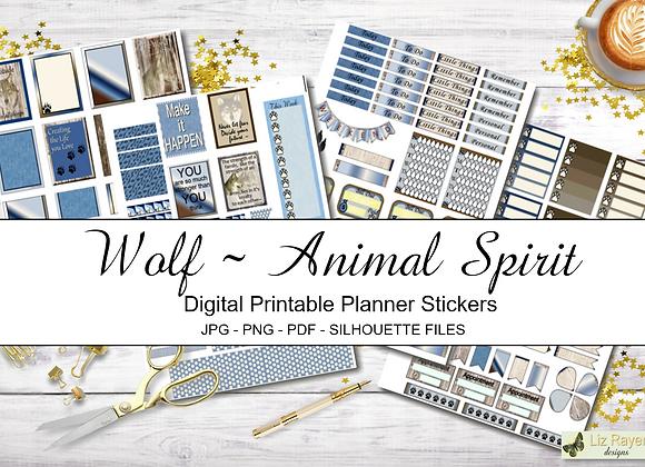 Digital Printable Planner Stickers-Spirit Animal-Wolf Collection