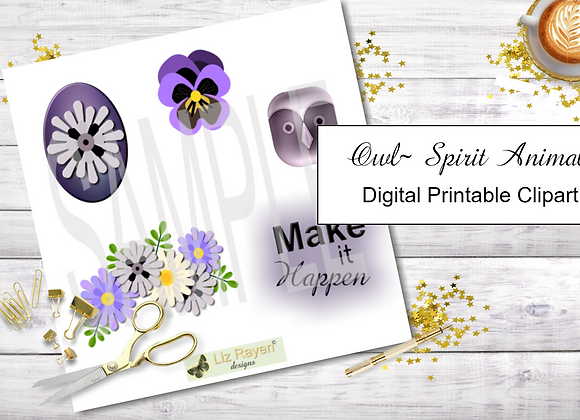 Digital Printable Clip Art - Owl Wisdom Collection - Instant Download