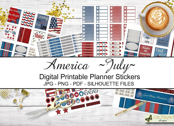 Digital-Printable-Planner-Stickers-America Collection
