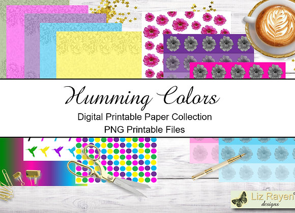 Digital Printable Papers -Humming Colors Collection - Instant Download