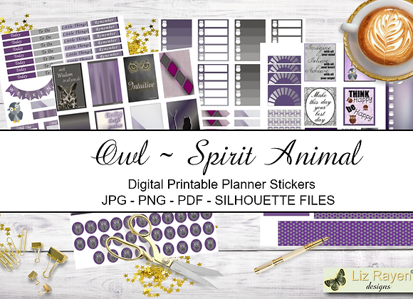 Digital Printable Planner Stickers-Spirit Animal-Owl Collection