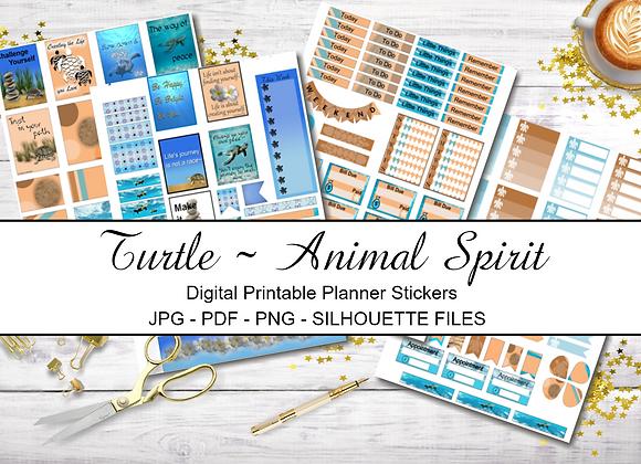 Digital Printable Planner Stickers-Spirit Animal-Turtle Collection