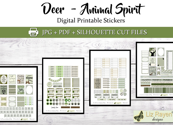 Digital Printable Planner Stickers-Spirit Animal-Deer Collection