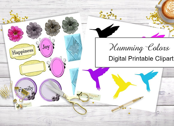Digital Printable Clip Art - Humming Colors - Instant Download