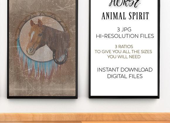 HORSE ANIMAL SPIRIT   Digital Download   Printable   3 Hi-RES JPG Files