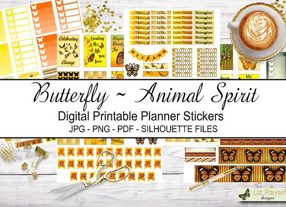 Digital Printable Planner Stickers-Spirit Animal-Butterfly Collection