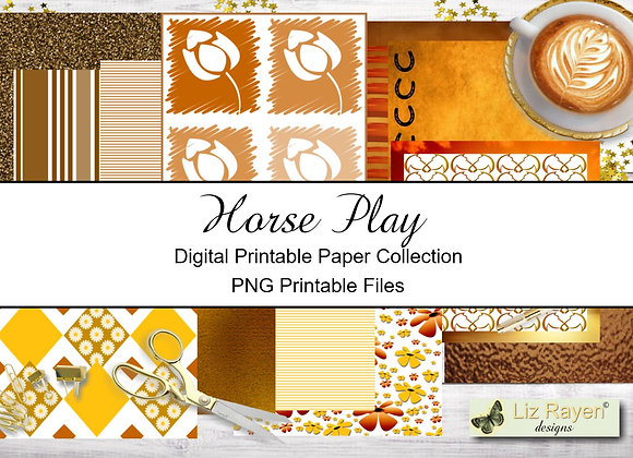 Digital Printable Papers - Horse Play Collection - Instant Download