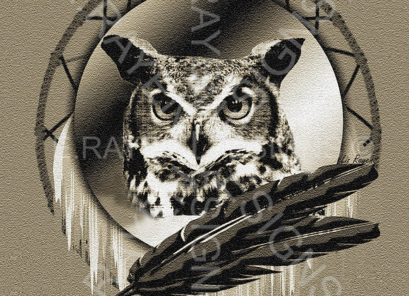WALL ART DECOR, 8 x 10  Printable Download, Owl Animal Spirit
