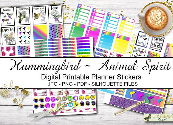 Digital Printable Planner Stickers-Spirit Animal-Hummingbird Collection