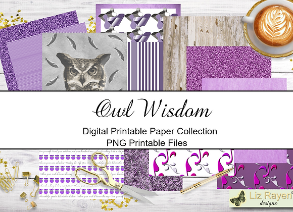 Digital Printable Papers -Owl Wisdom Collection - Instant Download