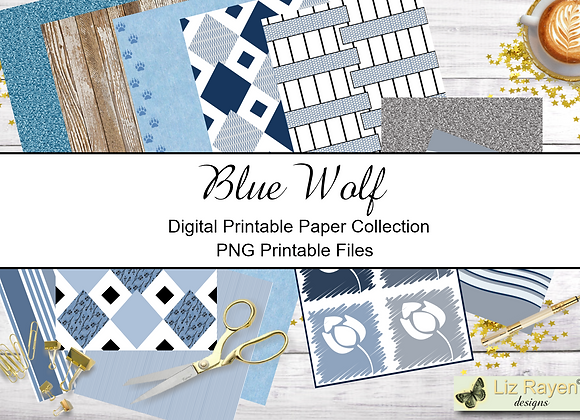 Digital Printable Papers -Blue Wolf Collection - Instant Download