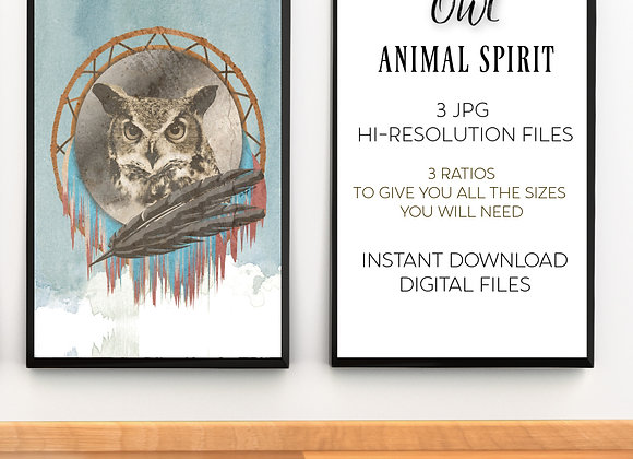 OWL ANIMAL SPIRIT | Digital Download | Printable | 3 Hi-RES JPG Files