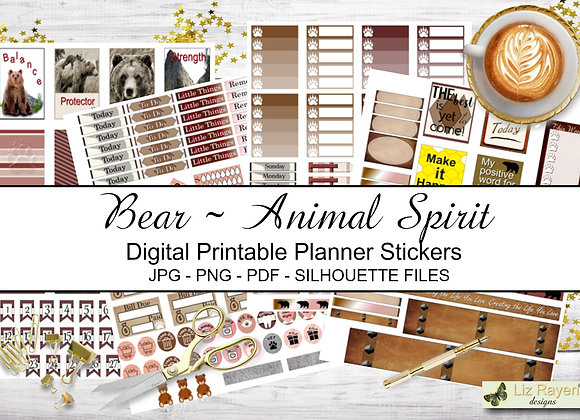 Digital Printable Planner Stickers-Spirit Animal-Bear Collection