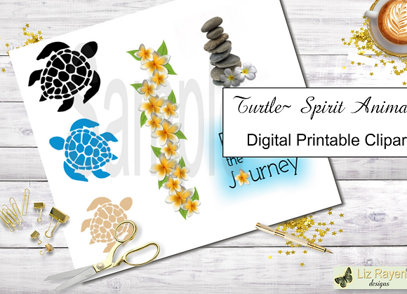 Digital Printable Clip Art - Tranquil Turtle Collection - Instant Download