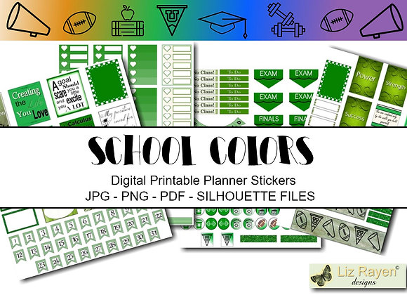 Digital-Printable-Planner-Stickers-School-Colors-Green-and-White-Collection