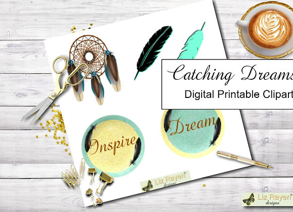 Digital-printable-clip-art-catching-dreams-collection-instant-download