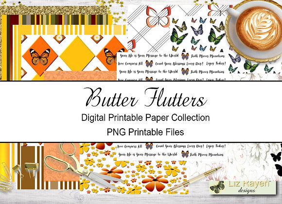 Digital Printable Papers - Butter Flutter Collection - Instant Download