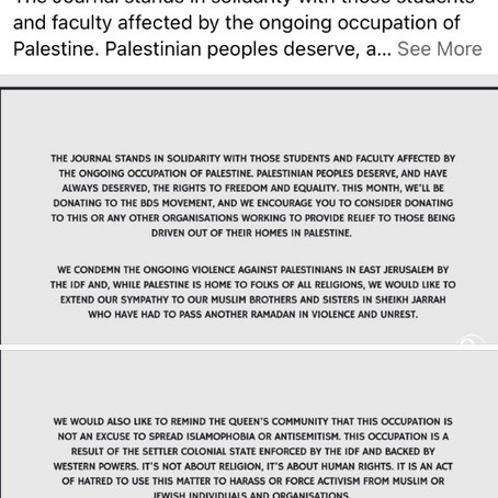 Open Letter to Queens University Principal