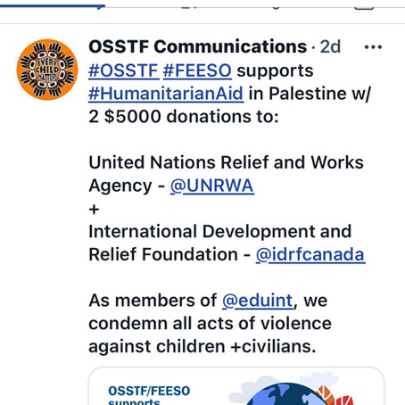 Statement: Teachers and Community Shocked in OSSTF Allocation to UNRWA