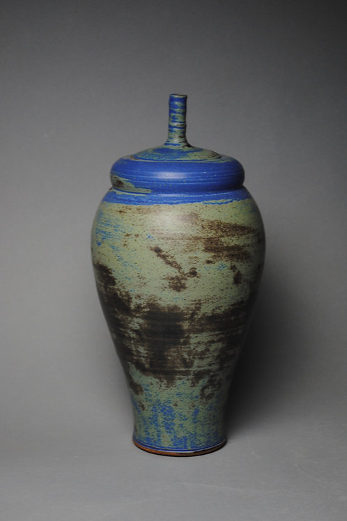 Covered Jar Blue Green H 28