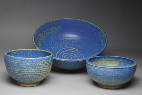 Salad Bowl Set Serving Blue E 70