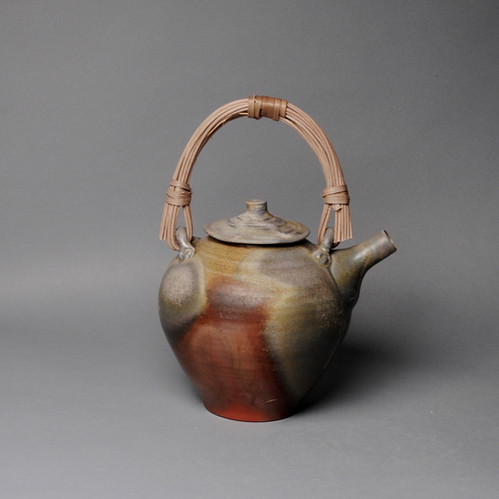 wood fired Lavender Side Handle Teapot