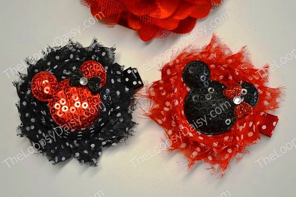 Red & Black Shabby Minnie Mouse-inspired Hair Bow