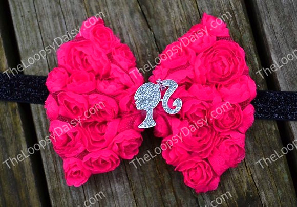 Hot Pink Rosette Barbie Girl Headband for Girls