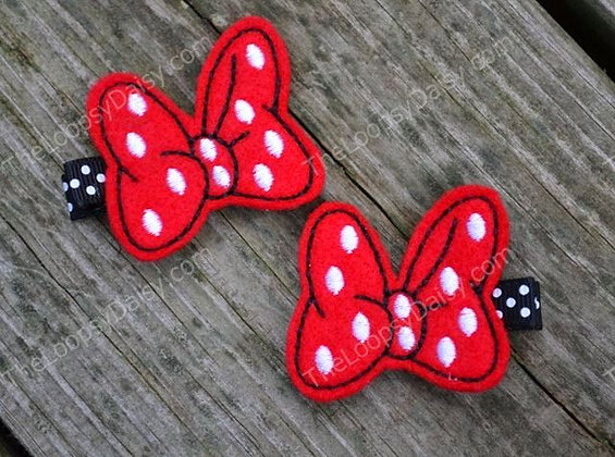 Minnie's Bowtique-inspired Hair Clips in RED