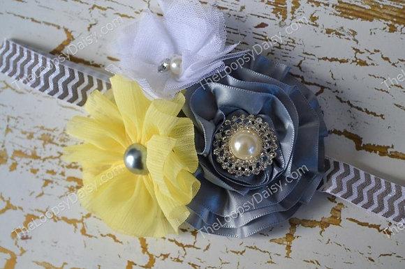 "Elegant  Gray and Yellow ""Lexie"" Chevron Headband"