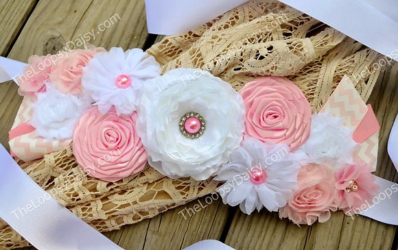 """Baby Pink & White """"Classic Girl"""" Maternity Sash"""
