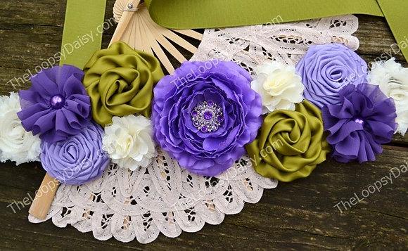 "Lovely ""Lavender Sage"" Spring Maternity Sash"
