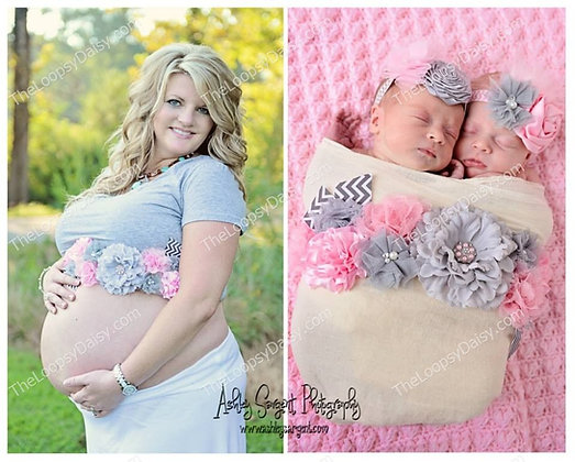 "Sweet Pink & Grey ""Baby of Mine"" Maternity Sash"