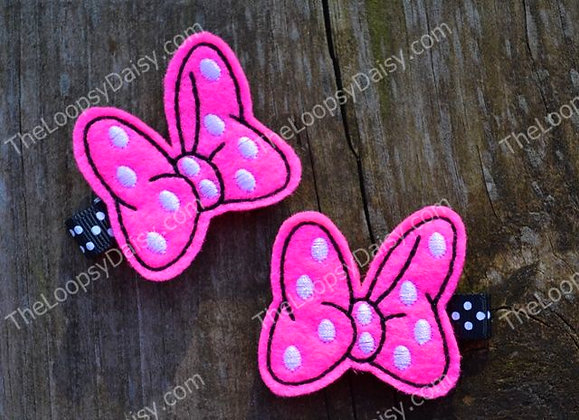 Minnie's Bowtique-inspired Hair Clips in PINK