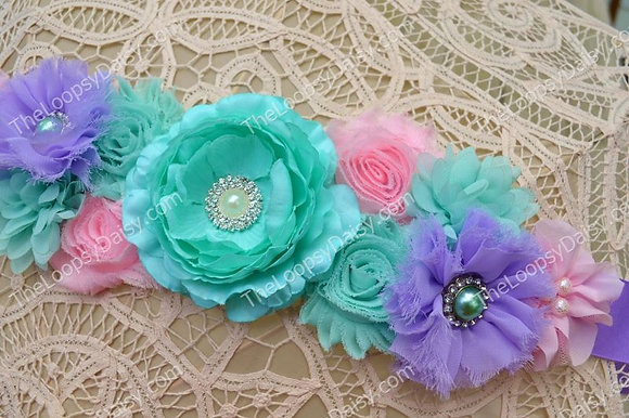 """Fanciful Garden"" Maternity Sash"