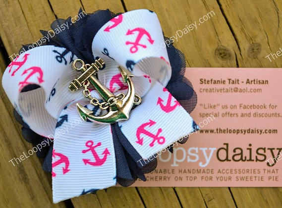 "Nautical ""Anchor's Away"" Hair Bow"