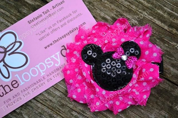 Pink & Black Shabby Minnie Mouse-inspired Hair Bow