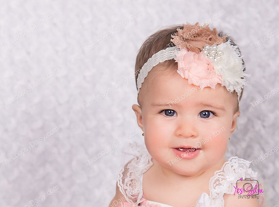 "Beautiful ""Blushing Peach"" Floral Headband"
