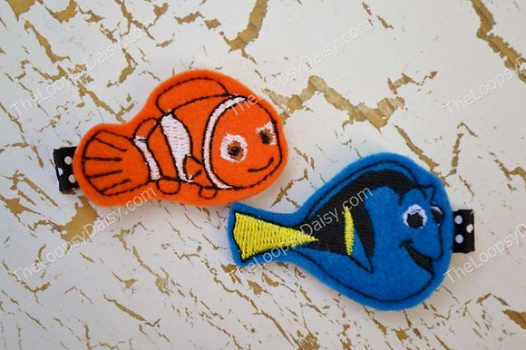 Adorable Dory and Nemo Hair Clippies