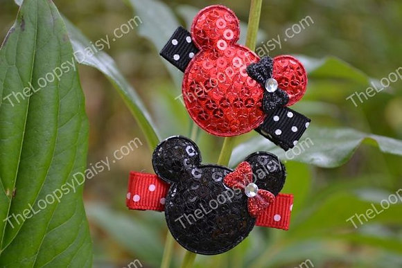 Matching Minnie Mickey Hair Clips